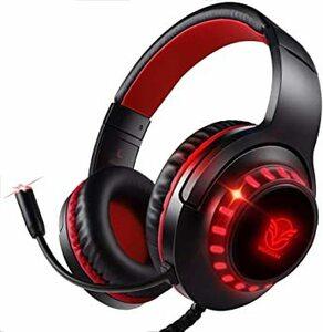 ブラックレッド Pacrate PS5 PS4 PC Xbox One用ゲーミングヘッドセット、マイク、LEDライト、ソフトメモ