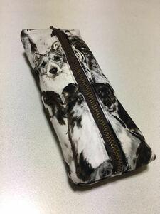 ハンドメイド 布製 筆入れ 小物入れ 犬/ドッグ 柄 白/ホワイト 茶色/ブラウン