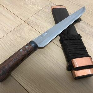 土居良明作 古式火造 百万狩刺刀腰鉈剣鉈土佐打ち刃物八寸両刃 刃渡約235mm