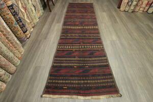 緻密で丁寧なものづくり アフガニスタン トライバルラグ オールド手織りキリム ヴィンテージランナー 90x295cm #987