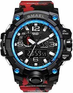 新品レッド PHCOOVERS ミリタリー 迷彩風 アナデジ 腕時計 メンズ 男性 アラーム クロノグラフ 多機能 32CO