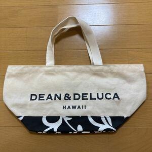 DEAN&DELUCA ディーンアンドデルーカ ハワイ限定 トートバッグ エコバッグ 黒 ハイビスカス柄 DEAN&DELUCA
