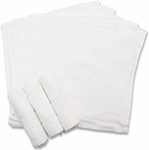 新品ホワイト おしぼり 格子柄タオル 業務用 10枚入り 綿100% ホワイト 28×28cm3S9O