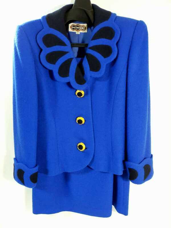 NN0303 680 REGENCE レジァンス スーツ size38 ブルー 金ボタン ウール ジャケット スカート 長袖 レディース
