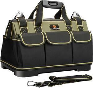 Drado ツールバッグ 工具バッグ 工具袋 工具差し入れ 大口収納 1680Dオックスフォード 特化プラスチック底部 防水 40㎝×23㎝×28㎝ ITET