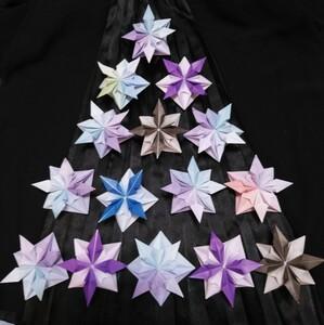 ハンドメイド【雪の結晶】立体折り紙★壁面飾り★クリスマスツリーにも★9cm×9cm★15個セットで