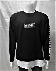 1円!メンズ 丸首 長袖Tシャツ 長袖シャツ レイヤード レイヤードシャツ 厚手 プリントシャツ 黒 L 00257