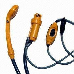 黄 どこでも電動 ポータブル シャワー 海水浴 車中泊 キャンプ 防災 洗車 アウトドア 必需品 DC12V シガー電源 カー用
