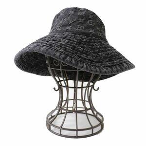 美品◎廃盤モデル LOUIS VUITTON ルイヴィトン 410907 シャポー モノグラムデニム バケットハット 帽子 ブラック S レディース フランス製