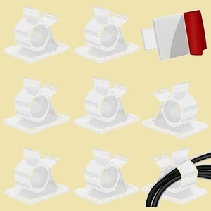 セール 新品、Cowfy ケ-ブル収納 4-PB ホワイト) 4階段調節可能なケ-ブルホルダ- コ-ドクリップ コ-ドフック