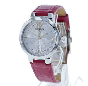 ルイ ヴィトン タンブール スリム メタリックフラワー PM QA014 ステンレス レザー 腕時計 レディース LOUIS VUITTON クオーツ 中古