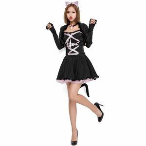 ハロウィン 猫 コスプレ 大人用 衣装 猫耳 ワンピース 女性用 レディース ハロウィン仮装 コスチューム