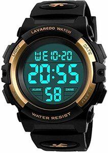 3-ゴールド 子供腕時計 男の子 デジタル腕時計 ボーイズスポーツウォッチ アウトドア多機能50m防水 アラート 日付曜日表示
