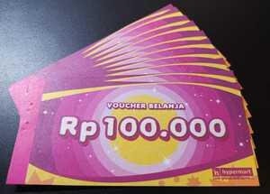 hypermart voucher belanja ハイパーマート 商品券 Rp100,000 x 10枚 (= Rp1,000,000)