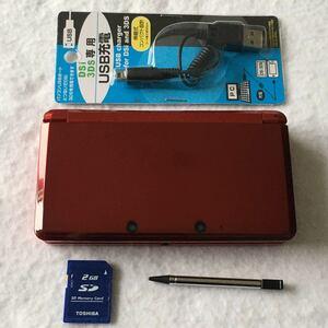 ニンテンドー 3DS フレアレッド 本体 充電器 タッチペン SD セット 7530