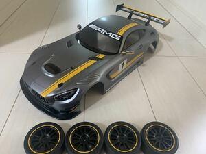 【未使用】タミヤ メルセデスAMG GT3XB メーカー塗装済みボディ リアスポ&ライトケース付き タイヤ、ホイールセットTT-02シャーシ