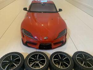 【未使用】タミヤ GRスープラXB メーカー塗装済みボディ ライトケース付き タイヤ、ホイールセットTT-02シャーシ