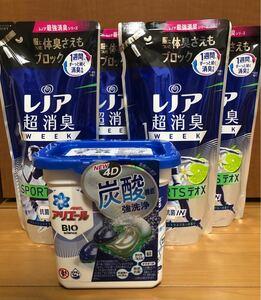 柔軟剤レノア超消臭1weekスポーツデオXフレッシュシトラスブルー詰替用400ml×4 アリエールジェルボール4D 本体12個×1