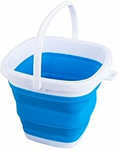 ブルー 10L EtetnalWings 正方形 折りたたみ バケツ 洗車 掃除 洗濯 アウトドア 園芸 釣り コンパクト 収納