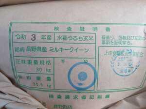 【玄米】令和3年産 新米 長野県産ミルキークイーン 玄米30キロ
