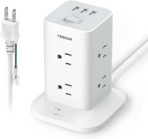 電源タップ タワー mini型 延長コード 8個AC コンセント3USBポート付き マルチタップ たこあしコンセント 一