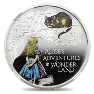 【★1円スタート】2021 エリザベス2世 不思議の国のアリス 2ポンド1オンスカラー銀貨 NGC PF69UC 箱付き