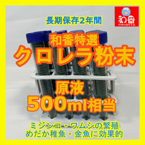和香特選粉末生クロレラ500ml作成用 ミジンコめだか金魚らんちゅうの餌 針子稚魚の青水作ワムシゾウリムシ生餌39
