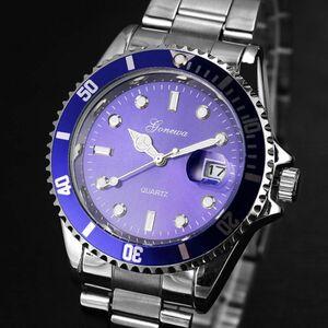 ■送料無料■新品♪日付表示ミリタリービジネス腕時計ブルー★GONEWA