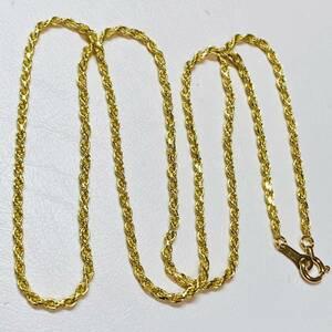 K18 刻印 約4.5g 昭和レトロ アクセサリー スクリュー ロープチェーン ネックレス
