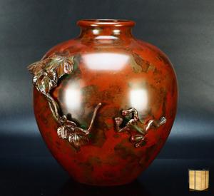 【治】金工家作 斑紫銅製 蛙葉紋花瓶☆箱付 高21.2cm 花器 花入 置物 茶道具 花瓶 TA78