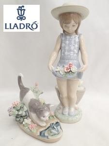 1142[T]◆LLADROリヤドロ◆陶器の置物 人形 2体/1284 スカートに花いっぱい/1442 にらみあい/現状渡し
