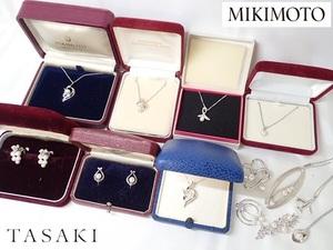 10243[T]箱付き多数!■TASAKI/MIKIMOTO■パール 真珠/ペンダントトップ イヤリング ブローチ アクセサリー/SILVER刻印有/ヴィンテージ/JAL