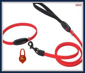 【期間限定】LEDペット用リード エルエンスタジオ 夜間犬用リード USB充電式犬リード 光る犬リード サイズ調節可能 (レLO3P