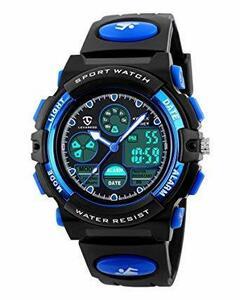 【期間限定】1-ブルー 51 子供腕時計 ボーイズスポーツウォッチ アウトドア多機能防水 アラート 日付曜日表示 デュアルタWVMC
