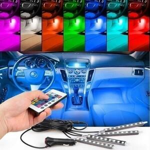 車内 イルミネーション 防水高輝度 フルカラーRGB LEDテープライト 車内 シガーソケット付 ledフロアライト 車 装飾 カスタム パーツSALE