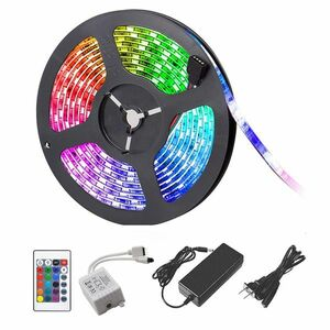 DD09ACset LEDテープライト RGB リモコン AC電源付 12V 5M 5050SMD 白ベース 300連 防水 切断可 両面テープ付 正面発光 イルミネーション