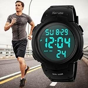 新品Haruma 腕時計 メンズ デジタル腕時計 人気 スポーツ 50メートル防水 おしゃれ 多機能 LED表示 大WUUL