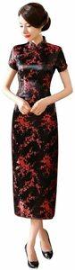 ブラック・梅木模様 S [Veroman] チャイナドレス コスプレ ハロウィン チャイナ服 パーティ ドレス ロング (S,