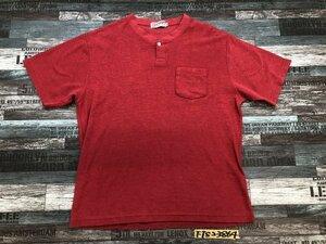<全国一律280円>CHAPS ラルフローレン ロゴ刺しゅう入り ヘンリーネック ボーダー 胸ポケット付き Tシャツ トップス 赤 レッド LL