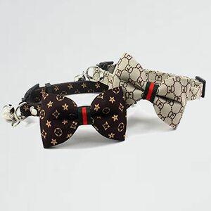 未使用 新品 首輪 猫 G-Q3 ペット用品 布 2個セット猫用首輪 リボン 蝶ネクタイ セ-フティバックル付 鈴付 迷子札付き 安全 かわいい