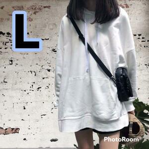 無地パーカー 韓国風 可愛い シンプル 裏起毛 白 L