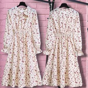 ワンピース レディース ドレス ワンピースチュニック 花柄 小花柄 ロングワンピ 白 ピンク ホワイト