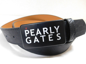 ★★PEARLY GATES(パーリーゲイツ)ロゴバックル 男女兼用 ゴルフ黒ベルト★★