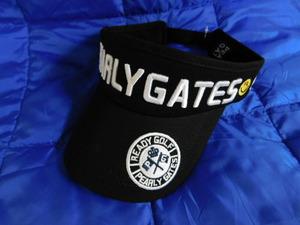 ◇◆PEARLY GATES(パーリーゲイツ)刺繍ロゴ サンバイザー ブラック 男女兼用◆◇