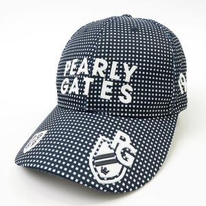 【美品】【即決】PEARLY GATES パーリーゲイツ 2020年モデル キャップ チェック ネイビー系 FR [240001609679] ゴルフウェア