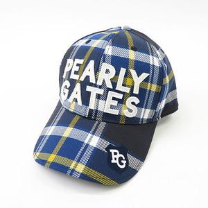 【即決】PEARLY GATES パーリーゲイツ キャップ 刺繍 チェック柄 ネイビー系 FR [240001614171] ゴルフウェア