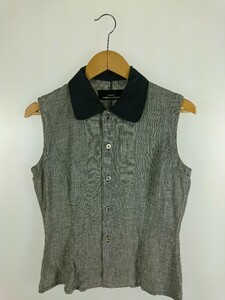 tricot COMME des GARCONS◆ノースリーブブラウス/-/リネン/BLK/チェック