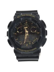 CASIO◆クォーツ腕時計・G-SHOCK/デジアナ/ブラック/GA-100CF-1A9JF