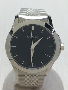 GUCCI ◆ Кварцевые часы / аналоговые / из нержавеющие / BLK / SLV // G Time Les 126.4