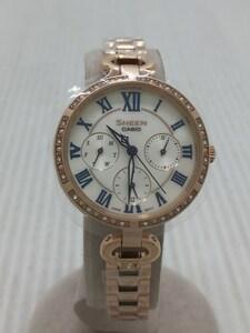 CASIO◆クォーツ腕時計/アナログ/ステンレス/WHT/GLD/ゴールド